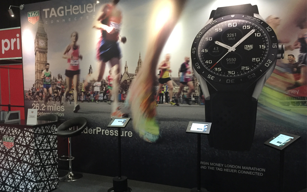 Close up of Brightleaf's Visual Merchandising work on the Virgin Money's London Marathon Stand