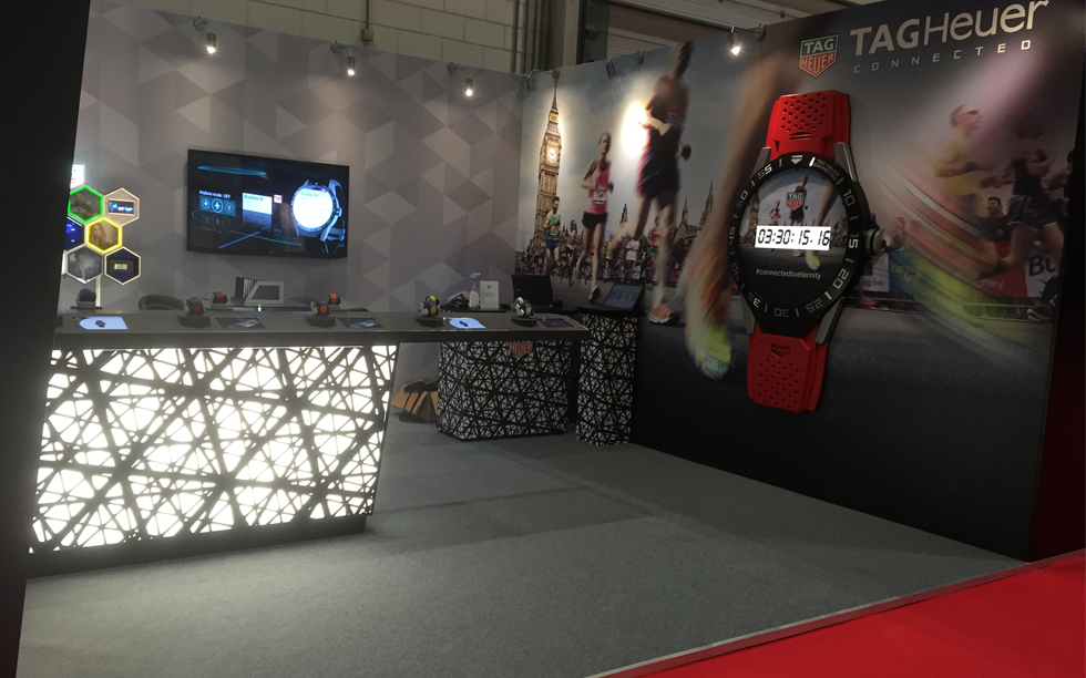 Wide angle of Brightleaf's Visual Merchandising work on the Virgin Money's London Marathon Stand