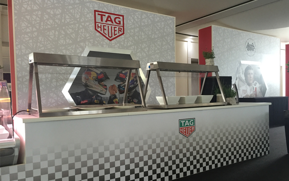 Goodwood FOS Drivers Club Serving Area - Event Design and Decoration by Brightleaf for Tag Heuer