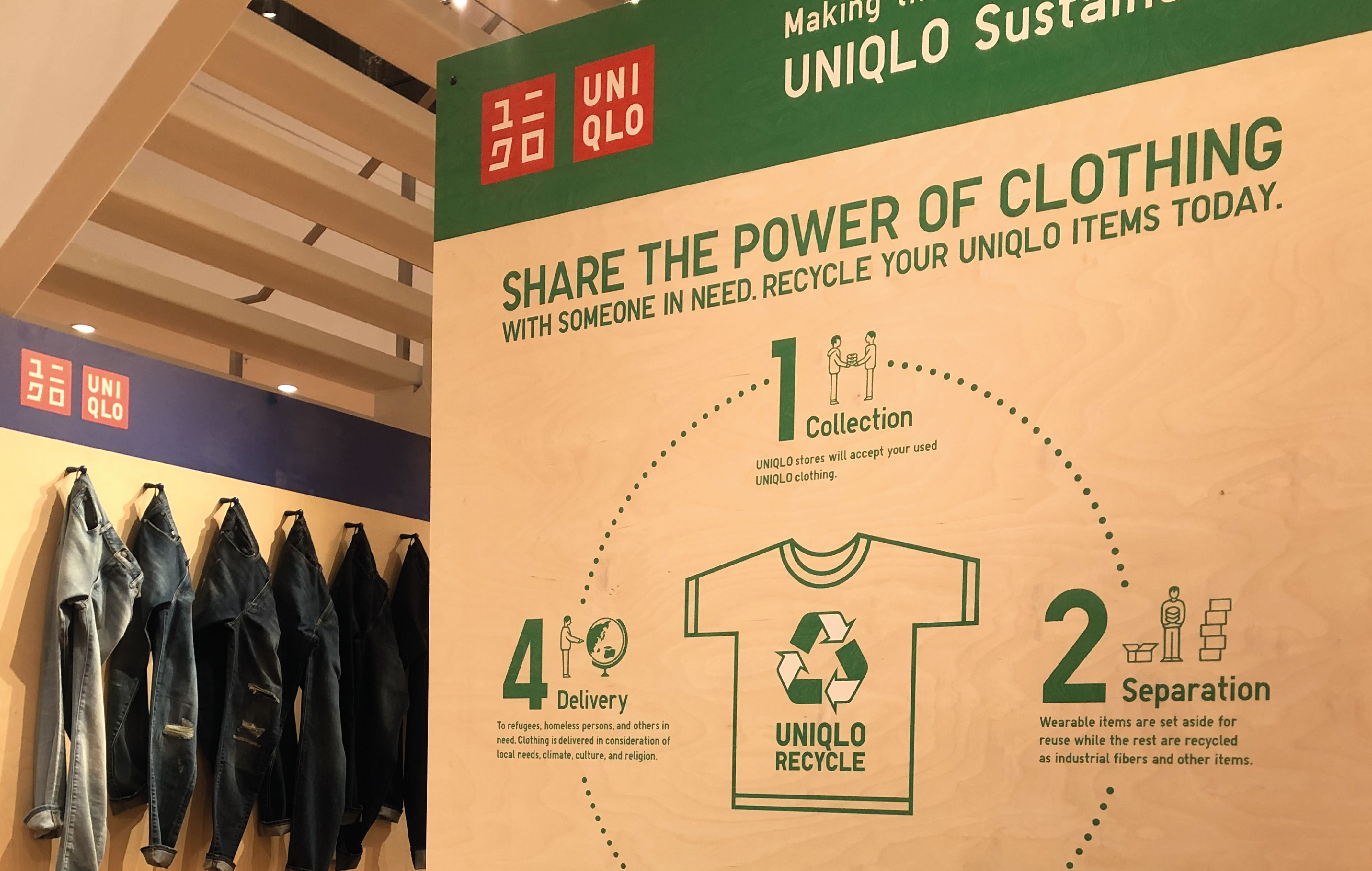 UNIQLO MANCHESTER SUSTAIN WOODEN PRINT DETAIL